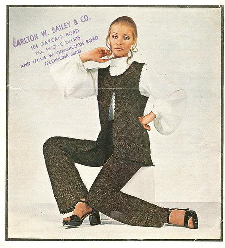 5863T ladies trouser suit vintage crochet pattern  PDF Download