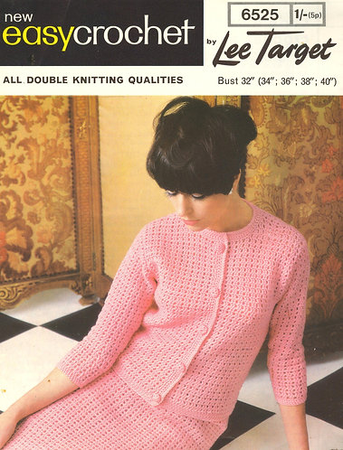 6525Lt ladies cardigan skirt suit vintage crochet pattern  PDF download