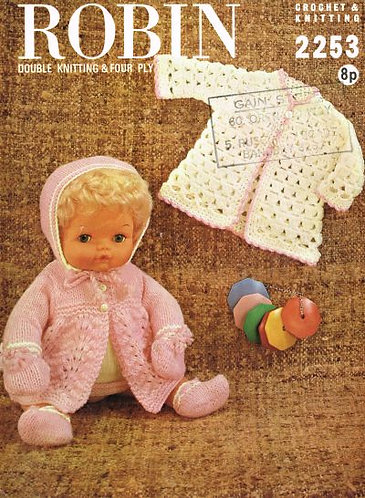 2253R dolls clothes vintage knitting and crochet pattern  PDF Download