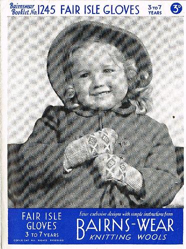 Bairnswear 1245 baby vintage knitting pattern PDF