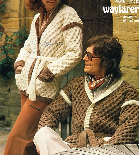 4616 ladies mens cardigan Vintage knitting pattern  PDF Download