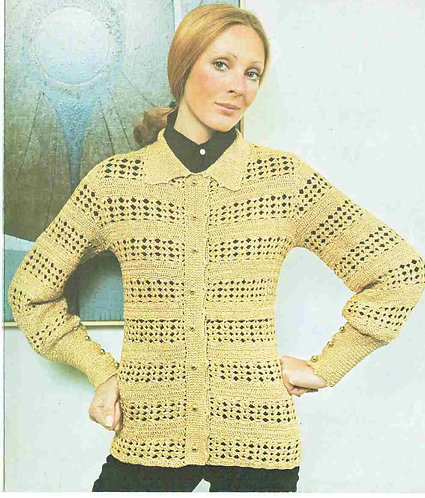 5985T ladies cardigan vintage crochet pattern  PDF Download
