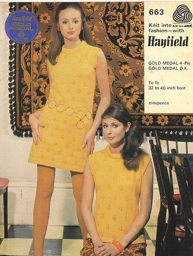 663H ladies dress & summer top Vintage knitting pattern  PDF Download
