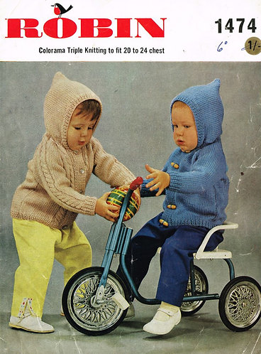 1474R baby hoodies vintage knitting pattern  PDF Download