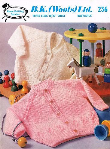 B K Wools 236 baby vintage knitting pattern PDF
