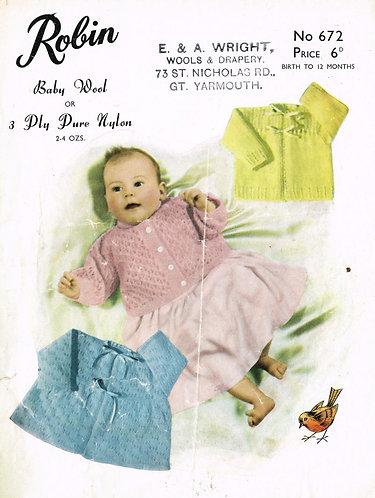 672R baby matinee coats vintage knitting pattern  PDF Download