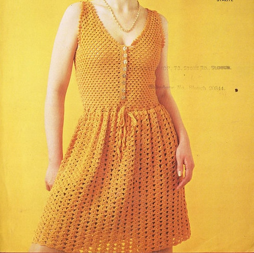 6036T ladies dress vintage crochet pattern  PDF Download