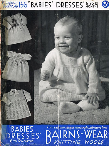 Bairnswear 156 baby vintage knitting pattern PDF