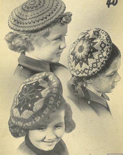 156P childrens fairisle beret vintage knitting pattern  PDF Download