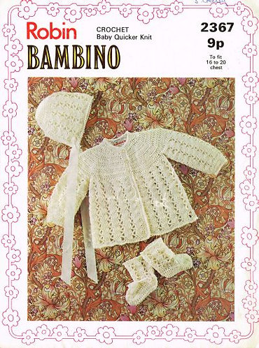 2367R baby matinee coat set vintage crochet pattern  PDF Download