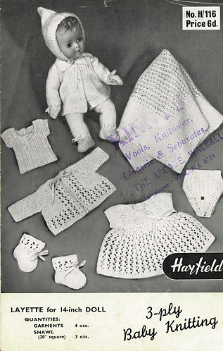 116H baby dolls clothes vintage knitting pattern PDF Download