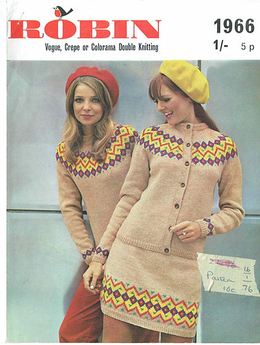 1966R ladies fairisle jumper cardigan suit vintage knitting pattern PDF Download