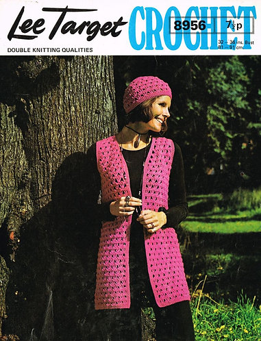 8956Lt ladies waistcoat beanie set vintage crochet pattern  PDF Download
