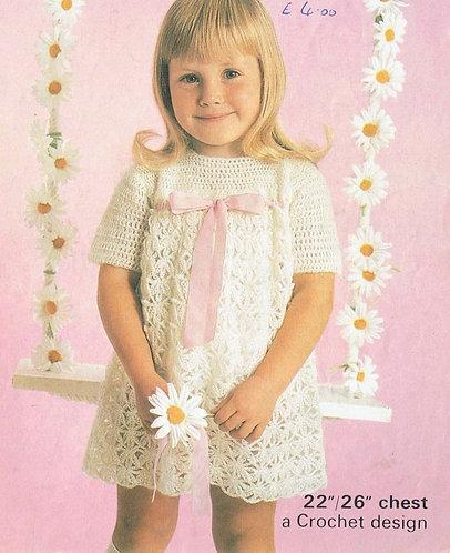 Girls crochet dress vintage crochet pattern 1260 PDF Download