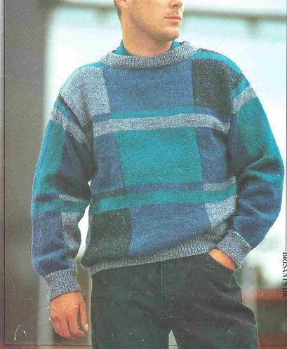 8677P mens jumper Vintage knitting pattern  PDF Download