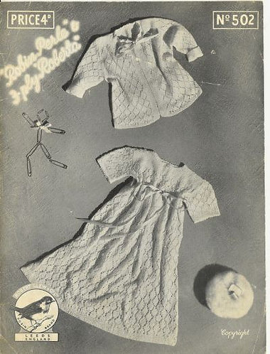 502R baby christening dress matinee coat set vintage knitting pattern  PDF Downl