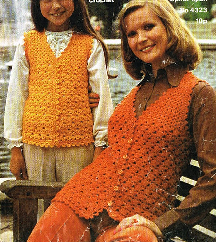 4233 mother daughter waistcoat Vintage crochet pattern  PDF Download