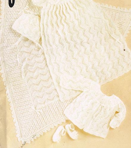 482J baby christening dress shawl set vintage knitting pattern  PDF Download