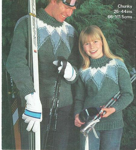 1870 ladies mens chunky jumper Vintage knitting pattern  PDF Download
