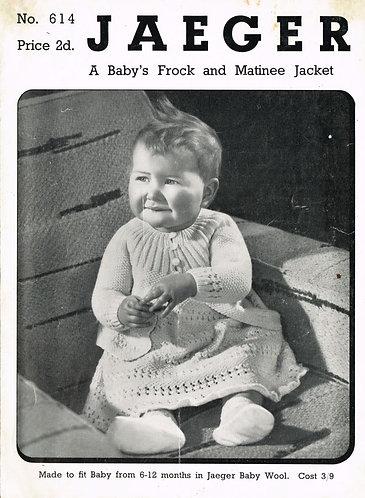 614Ja baby dress vintage knitting pattern  PDF Download