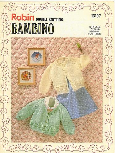 13197R baby cardigans vintage knitting pattern  PDF Download
