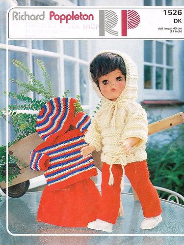 1526RP dolls clothes vintage knitting pattern  PDF Download