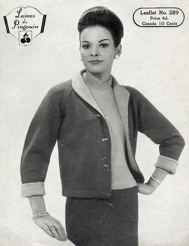 289P ladies cardigan vintage knitting pattern PDF Download