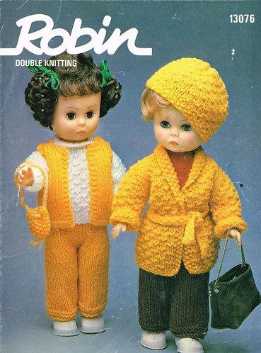 13076R dolls clothes vintage knitting pattern  PDF Download