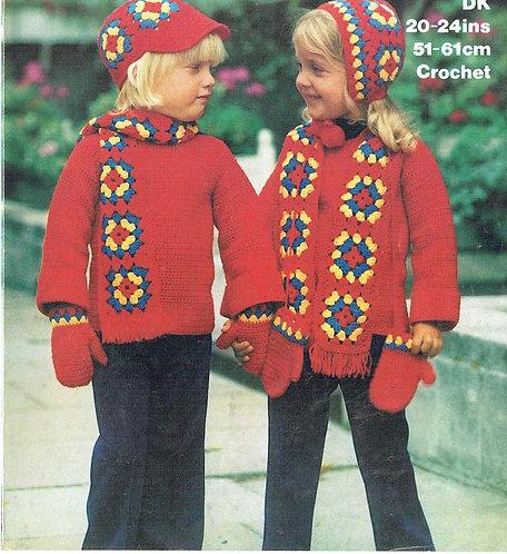 1722M baby hat set vintage crochet pattern  PDF Download