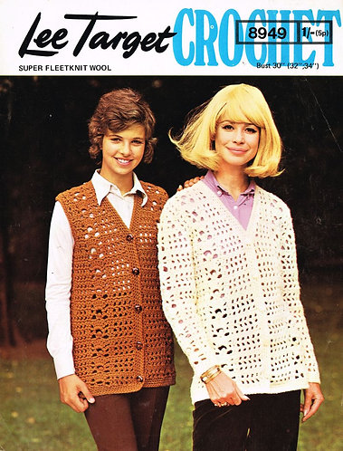 8949Lt ladies cardigan waistcoat vintage crochet pattern  PDF Download
