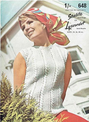 648T ladies summer top vintage knitting pattern  PDF Download