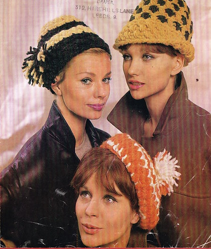 1045H ladies hats Vintage crochet pattern  PDF Download