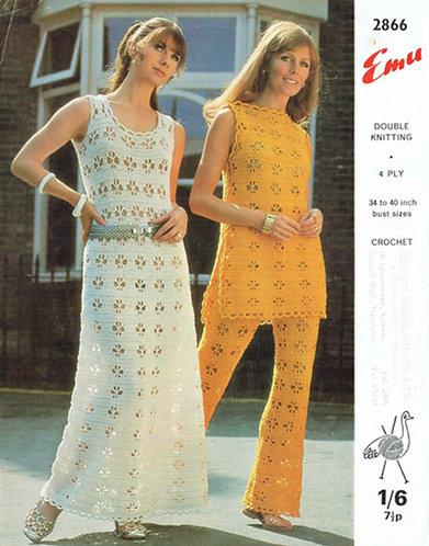 2866 ladies trouser suit and dress vintage crochet pattern PDF Download