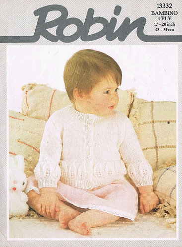 13332R baby cardigan leaf design vintage knitting pattern  PDF Download
