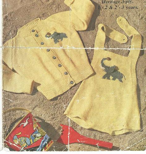 257M elephant romper cardigan vintage knitting pattern  PDF Download