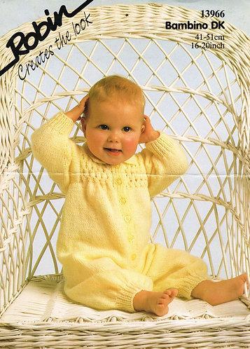 13966R baby onesie vintage knitting pattern  PDF Download