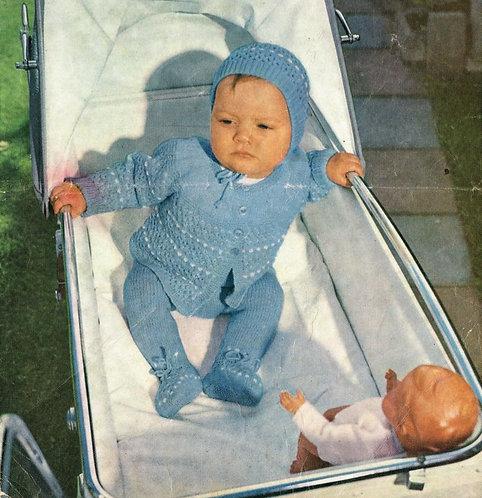 435H baby pram suit vintage knitting pattern  PDF Download