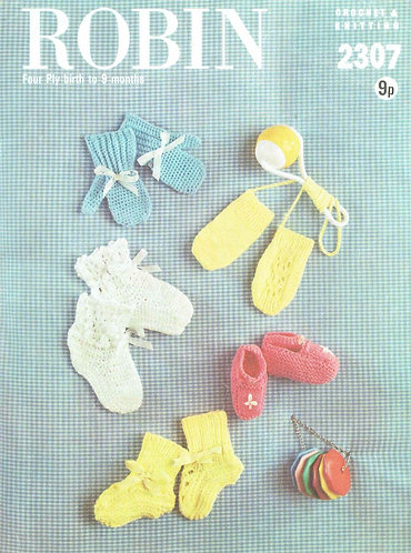 2307R baby bootees mittens vintage knitting and crochet pattern  PDF Download
