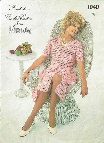 Ladies cardigan skirt suit vintage crochet pattern PDF Download