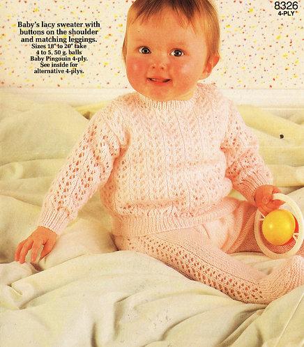 8326P baby jumper set vintage knitting pattern  PDF Download