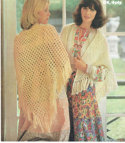 1675 ladies shawls Vintage crochet pattern  PDF Download