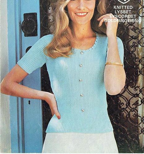 6058T ladies summer top vintage knitting pattern  PDF Download