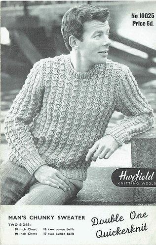 100025 H mens jumper vintage knitting pattern PDF Download