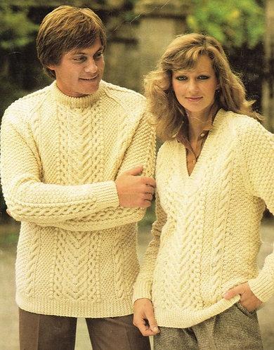 1509H ladies mens aran jumper Vintage knitting pattern  PDF Download