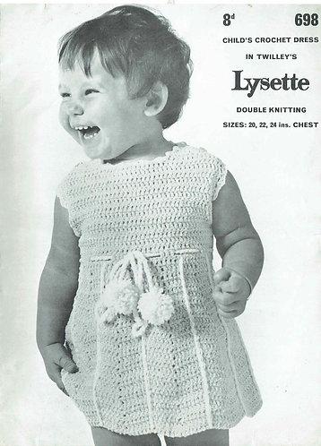 698T baby dress vintage crochet pattern  PDF Download