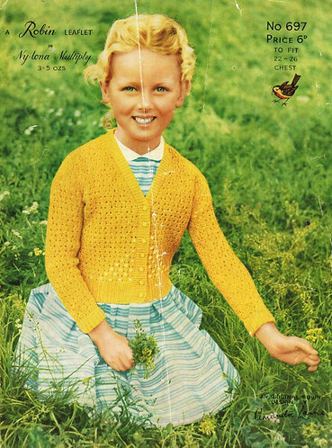 697R girls cardigan vintage knitting pattern  PDF Download