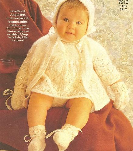 7916P baby dress set vintage knitting pattern  PDF Download