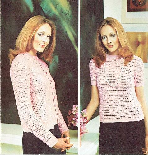5974T ladies cardigan jumper set vintage knitting pattern  PDF Download