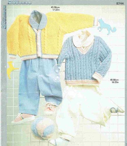8744P baby cardigan vintage knitting pattern PDF Download