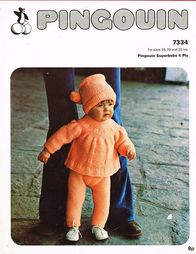 7334P baby pram suit vintage knitting pattern  PDF Download